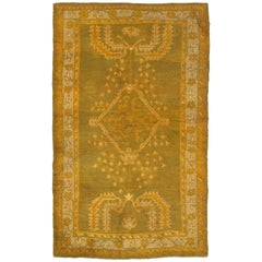 Antique Oushak Carpet, Oriental Rug, Handmade Green, Muted Taupe, Soft Saffron