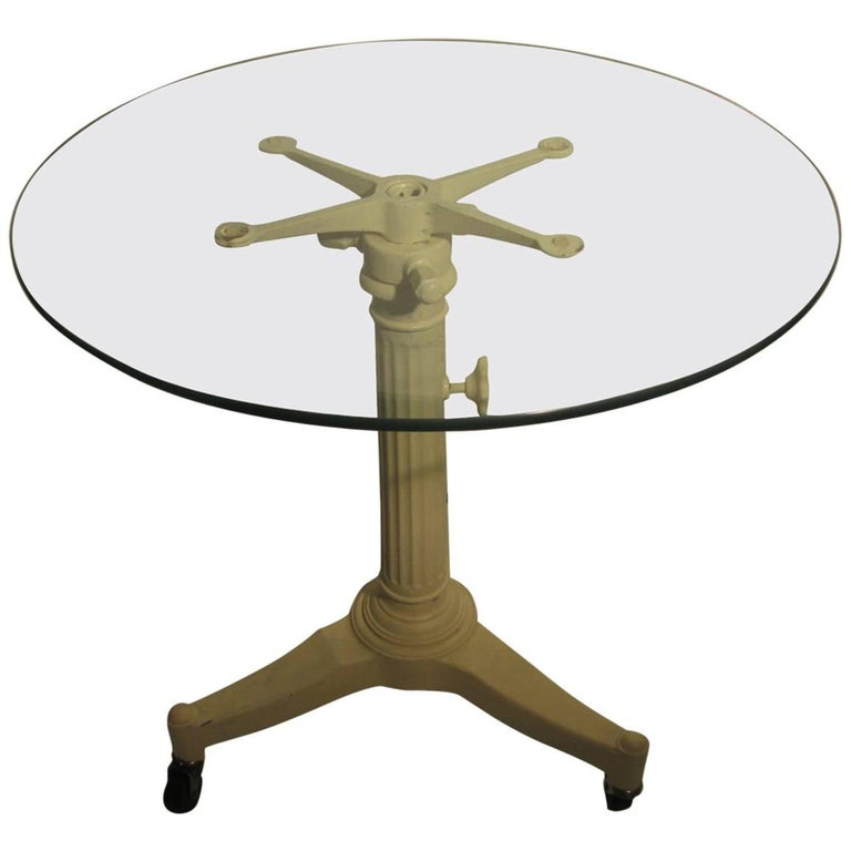 Mid Century Cast Iron Industrial Cafe Table For Sale