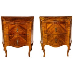 Pair of North Italian Rosewood Commodini