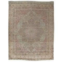 Antique Lavar Kerman Carpet, Soft Pastel Colors, Ivory, Pink, Light Gray/Blue