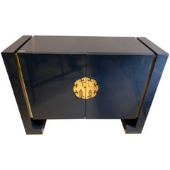 Blue Designer Oriental Cabinet or Commode in the Style of James Mont