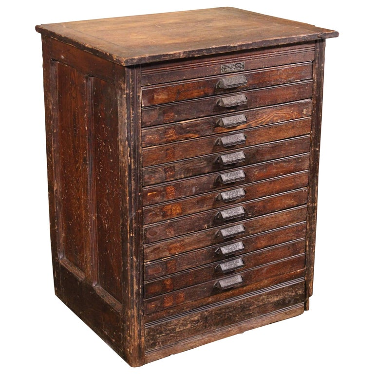 antique wood file cabinet vintage wooden flat file storage cabinet by hamilton at 10692