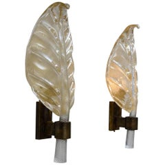 Beautiful Pair of Crystal Sconces with Gold Incrustations, circa 1970