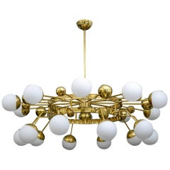 Huge Round Circle Italian Bronze Chandelier