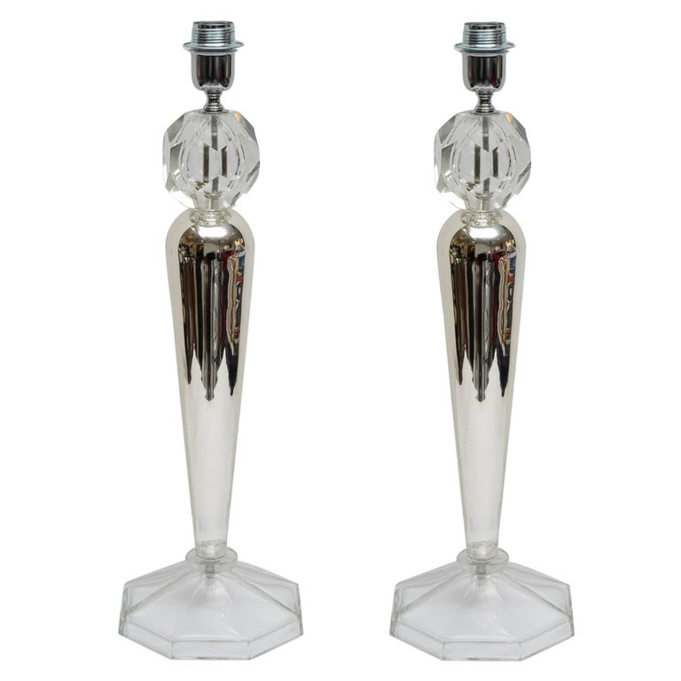 Beautiful Pair of Italian Crystal Table Lamps