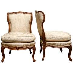 Elegant Pair of 1880s Slipper Chairs