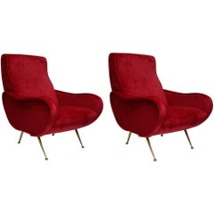 Beautiful Pair of Italian Armchairs in the Taste of Marco Zanuso