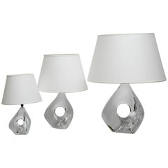 Rare Set of Three Lamps by Daum