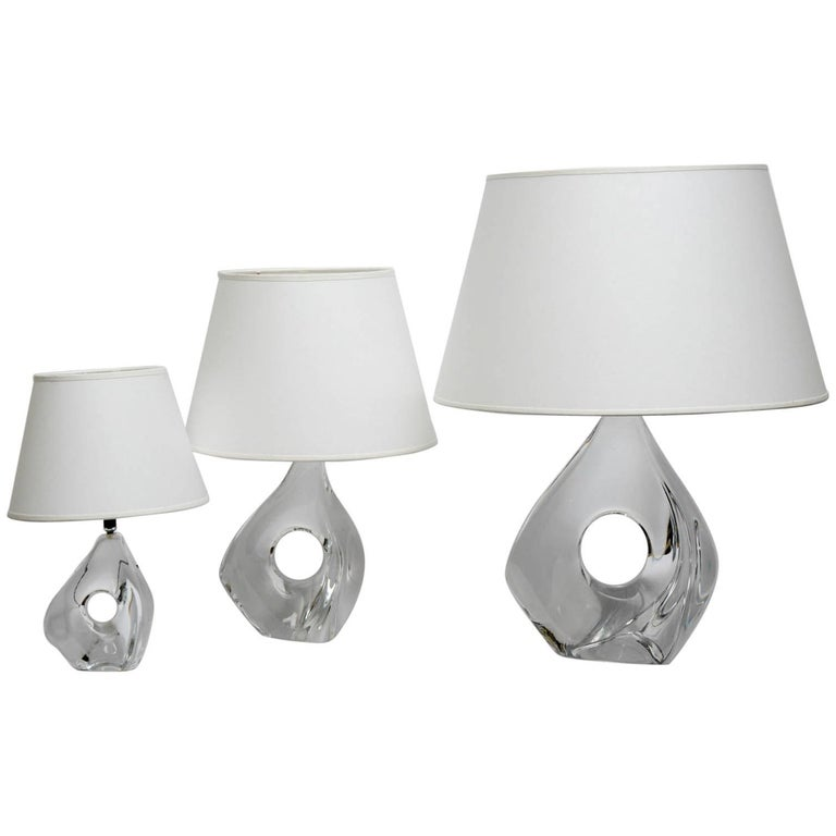 Rare Set of Three Lamps by Daum For Sale