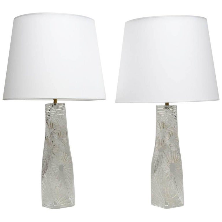Large Pair of 1960s Crystal Lamps by Daum