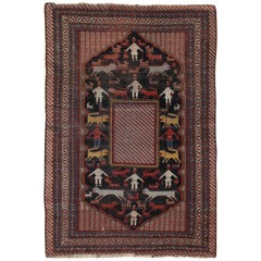 Antique Qashgai Rug, Handmade Persian Folk Art, circa 1850