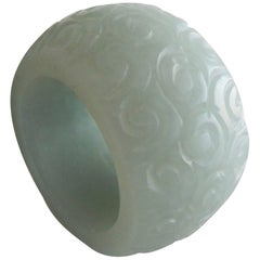 19th Century Chinese Carved Jade Archer's 'Thumb' Ring