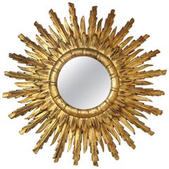 Hollywood Regency Gilded Sunburst Mirror