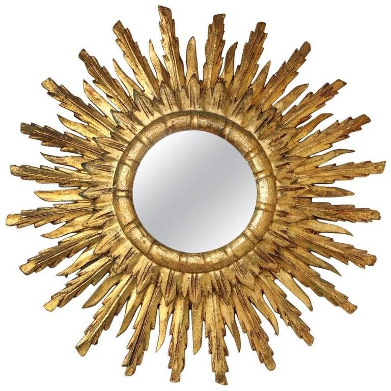 Hollywood Regency Gilded Sunburst Mirror