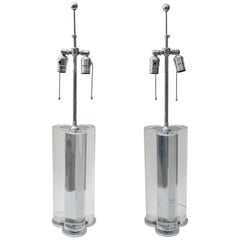 Pair of Table Lamps in Lucite and Polished Steel, Attributed to Karl Springer