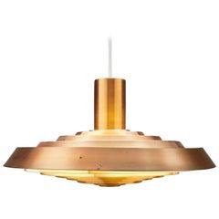 Copper Poul Henningsen, Louis Poulsen 1958 Langelinie Plate Lamp
