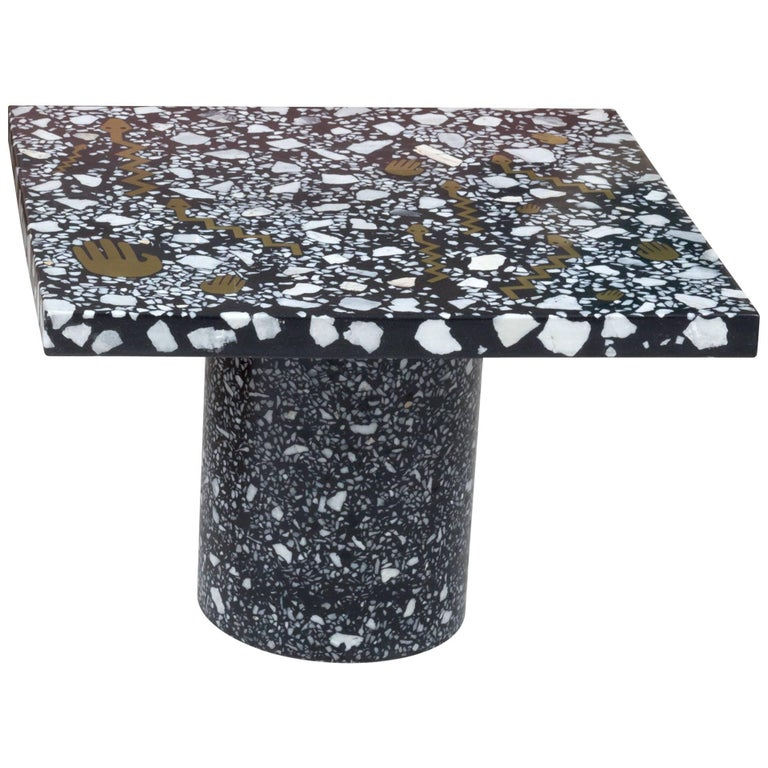 Fertility Coffee Table End Side in Terrazzo with inlaid brass by Carly Jo Morgan