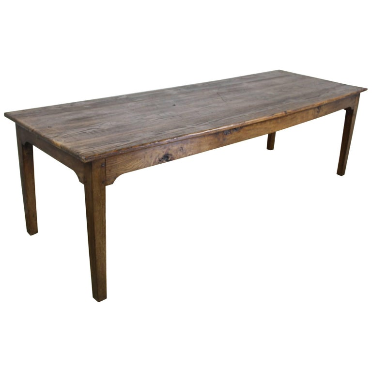 Long Antique French Pine Farm Table For Sale