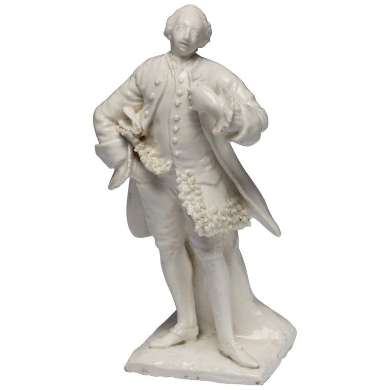 Figure of the Shakespearean Actor David Garrick, Bow Porcelain, circa 1750 For Sale