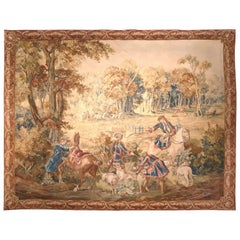 Large 18th Century Hunt Scene Tapestry with Horsemen Dogs and Deer from Brussels