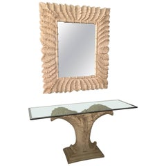 Console Table and Mirror Tropical Palm Tree Frond Leaf Leaves Faux Bamboo