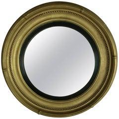 Large Regency Style Giltwood Convex Mirror, England, 19th Century