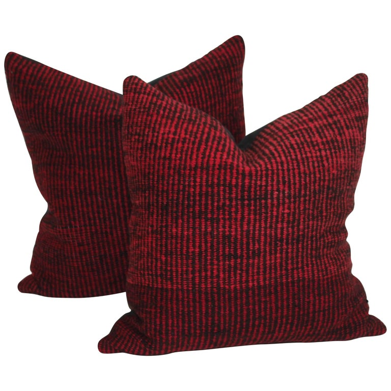 Navajo Indian Weaving Saddle Blanket Pillows or Pair For Sale