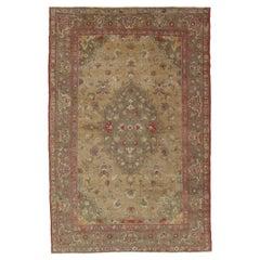 Vintage Oushak Carpet, Handmade Oriental Rug, Pale Caramel, Coral Taupe, Gray