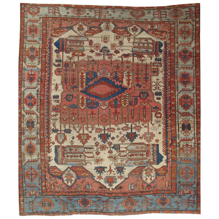 Antique Persian Serapi Carpet, Handmade Wool Oriental Rug, Gold-Ivory Light Blue For Sale