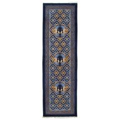 Vintage Chinese Runner, Handmade, Oriental Rug, Blue, Gold, Ivory