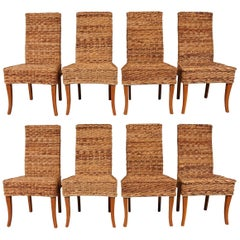 Set of Eight Vintage Woven Palm Chairs