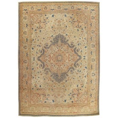Antique Tabriz Carpet, Hadji Jalili Persian Floral Soft, Beige Light and Taupe