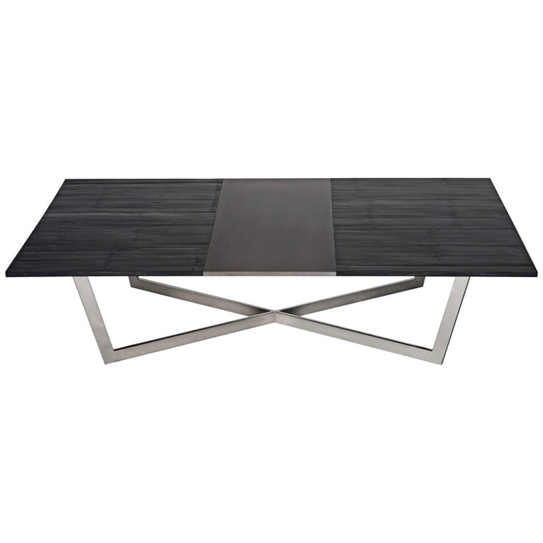 Madison Coffee Table, Polished Stainless Steel and Bamboo by Aguirre Design