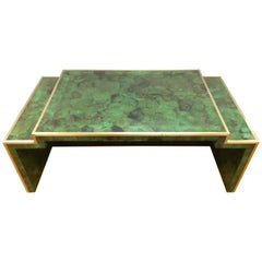 Savona Emerald Faux Malachite and Brass Cocktail Coffee Table