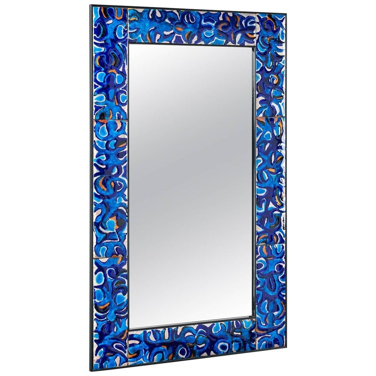 Enameled Mirror by Bruno Martinazzi, 1970s For Sale
