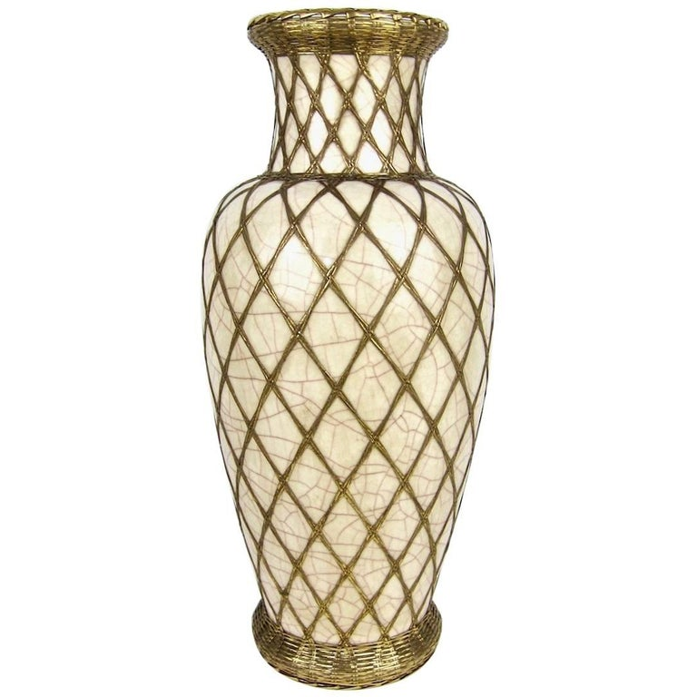 Large Japanese Pottery Vase With Craquelure Glaze And Basket Weave