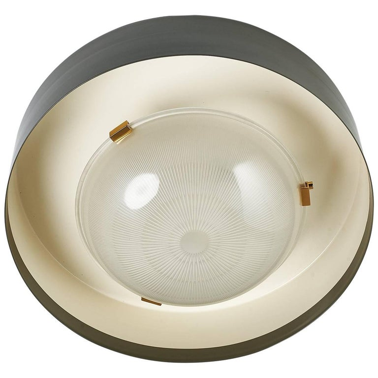 Ribbed Glass and Enameled Metal Ceiling Light by Ignazio Gardella for Azucena
