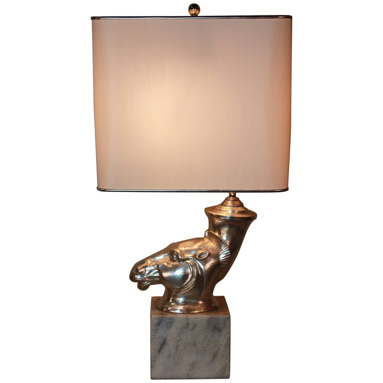 Silver Sculpture Rhyton Vase Table Lamp For Sale