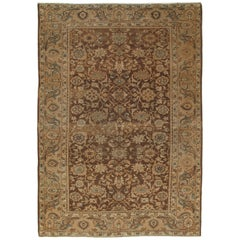 Antique Malayer Carpet, Handmade Oriental Rug, Ivory, Taupe, Brown, Terracotta