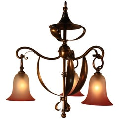 English Art Nouveau Brass with Blown Glass Shades