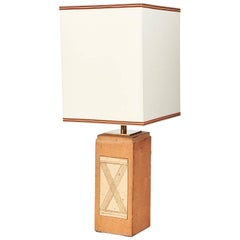 Square Ceramic Lamp with Abstract Decor, France, 1970s