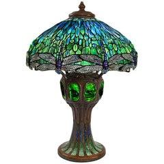 "Tiffany Studios ""Drophead Dragonfly"" Table Lamp on Mosaic & Turtleback Tile Base"