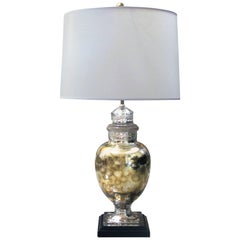 Shimmering American 1940s Mercury-Mirror Apothecary Jar Now Mounted as a Lamp