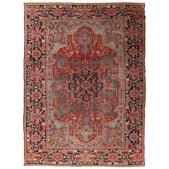 Antique Bakhshaish Carpet, Handmade Oriental Rug, Rust, Ivory, Navy, Light Blue