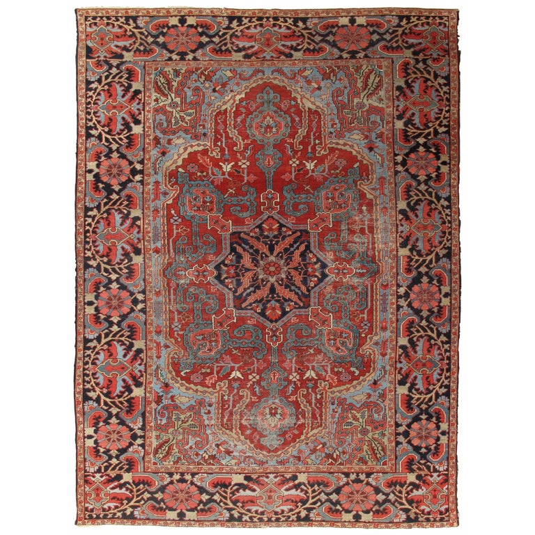 Antique Bakhshaish Carpet, Handmade Oriental Rug, Rust, Ivory, Navy, Light Blue For Sale
