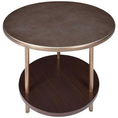 Osaka Side Table with Silver Leaf and Brass Legs by Aguirre Design