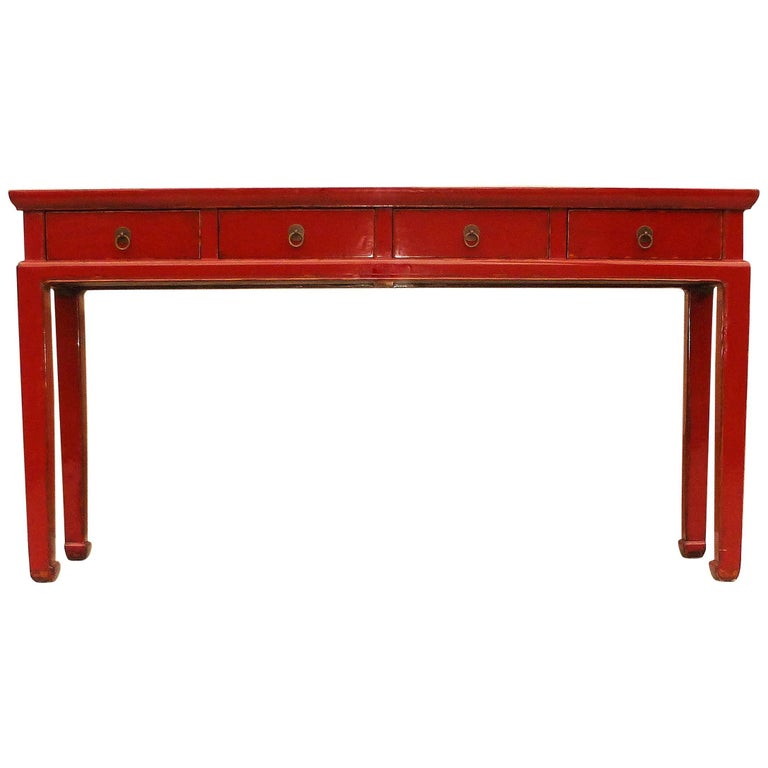 Red Lacquer Console Table with Drawers