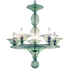 Rare and Shapely Murano Art Deco Pale Green Glass Five-Light Chandelier