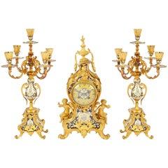 19th Century Louis XVI Style Champleve Enamel Clock Set