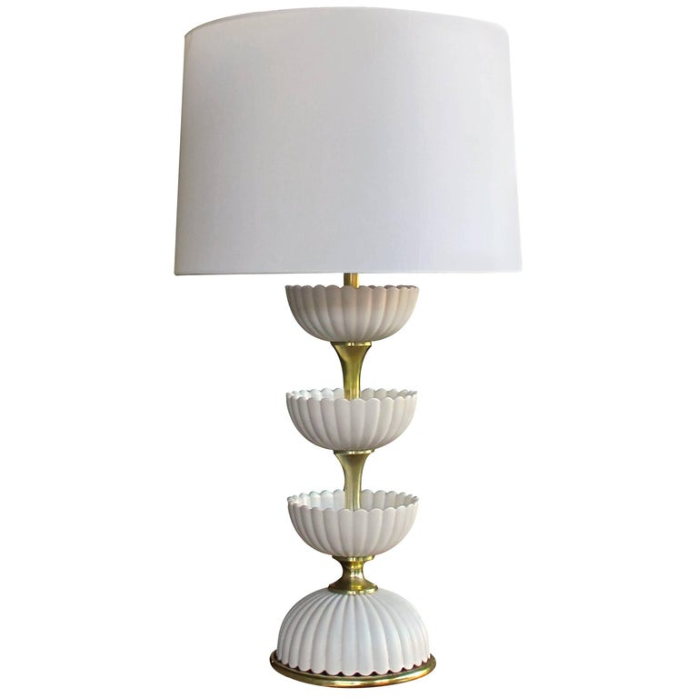 Chic American Ceramic 'Lotus' Lamp by Gerald Thurston for Lightolier